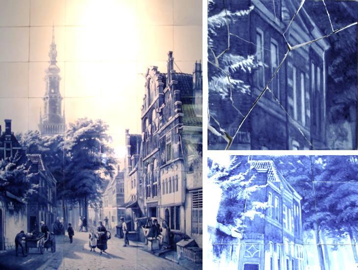 Veggbilde. 160×200 cm. Bestående av 48 Delft-fliser.