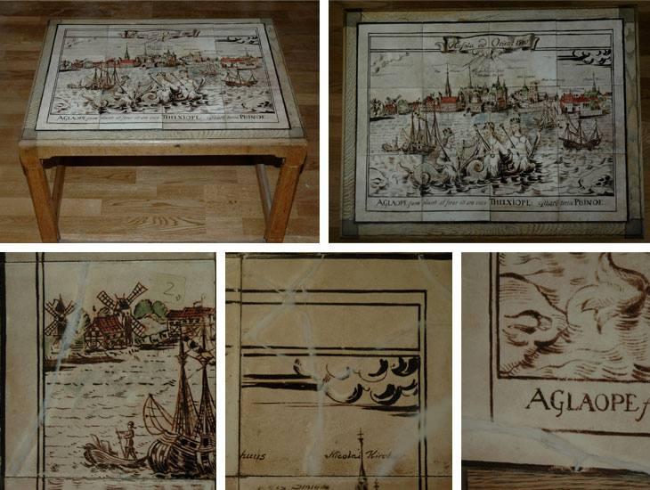 Bord 60×80 cm. Bestående av 12 Delft-fliser.